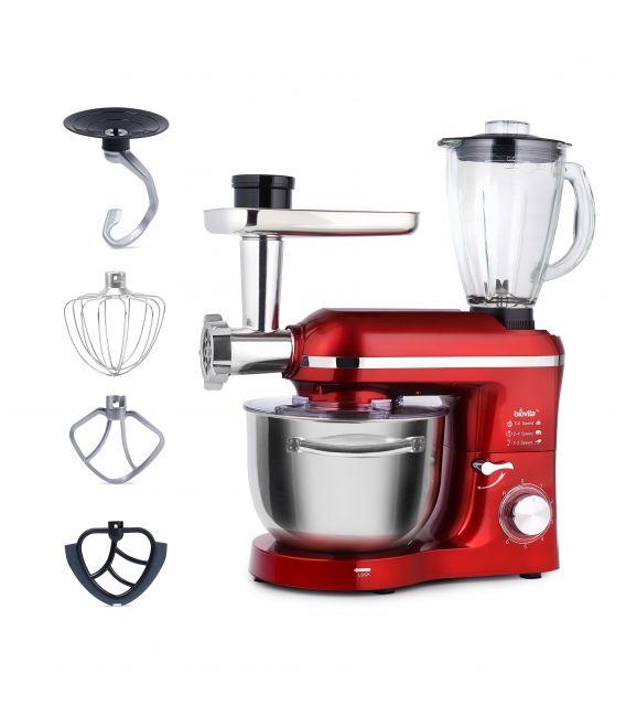 Mixer cu bol de 6L din inox, 1500W, cu tocător și blender și accesorii, Roșu