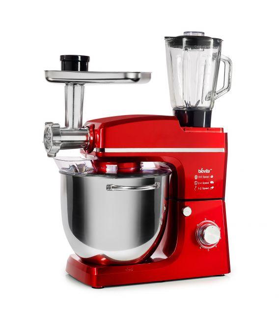 Mixer cu bol de 10L din inox, putere 1500W, cu tocător și blender, Roșu