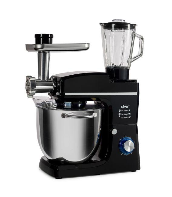Mixer cu bol de 10L din inox, putere 1500W, cu tocător și blender, Negru