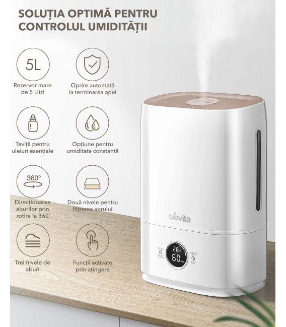 Umidificator cu senzor de umiditate Biovita Super Mist, 5 Litri