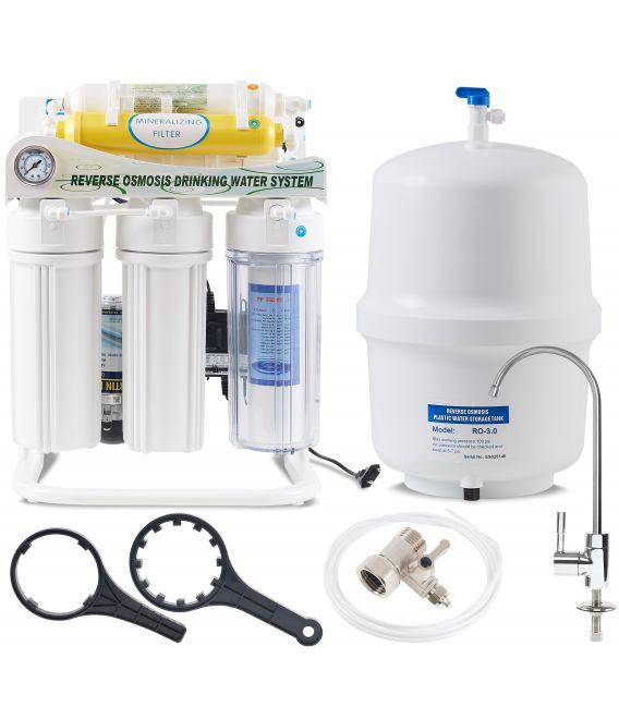 Filtru de apă cu osmoză inversă cu 6 nivele și pompă booster